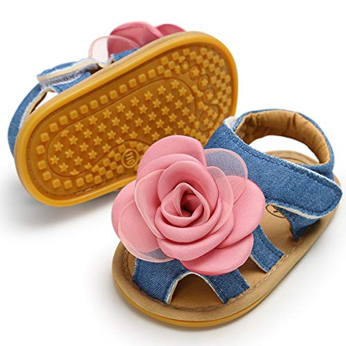 BENHERO Infant Baby Girl Summer Sandals with Flower Non-Slip Soft Sole Newborn Toddler First Walker Dress Crib Shoes(0-18 Months) (12-18 Months M US Infant) E-Denim Baby Shoes ()