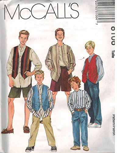 Childs Boys Front Button Shirt Lined Vest Pants Shorts Sewing Pattern Front Fly McCall 8106 (10-12-14) (Sewing Lined Vest)