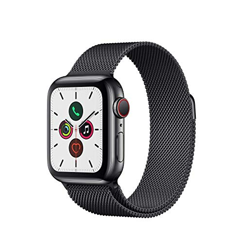 Apple Watch Series 5 (GPS + Cellular, 40MM) - Stainless Steel Case with Black Milanese Loop Band (Renewed)