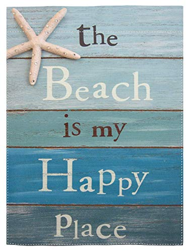 "pingpi The Beach is My Happy Place Garden Flag Home Decorative Outdoor Double Sided Yard Flag 12.5""x18"""