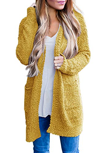 ZESICA Women's Casual Long Sleeve Open Front Soft Chunky Knitted Sweater Cardigan Outerwear with Pockets Mustard Yellow