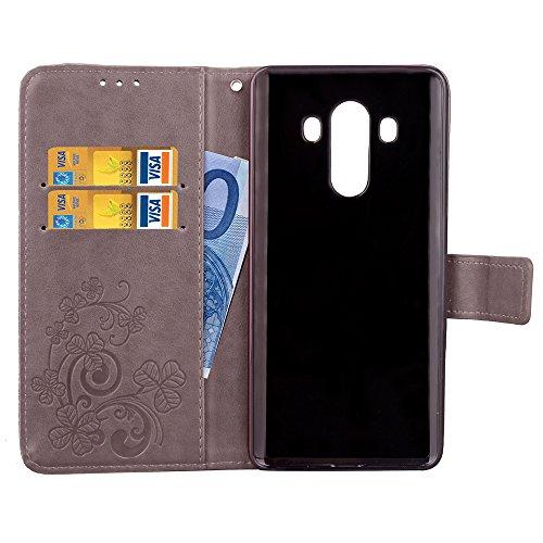 Huawei Mate 10 Pro caso, flores de piel sintética tipo cartera funda con correa de muñeca de mano, diseño de flores, funda tipo cartera de piel sintética ...