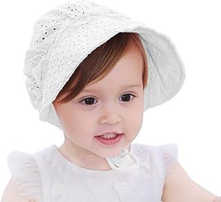 HBselect Bébé Fille Chapeau de Soleil, Large Bord Respirant Bébé Bonnet Sweet Princess Style Fleur à œillets d'été Cap