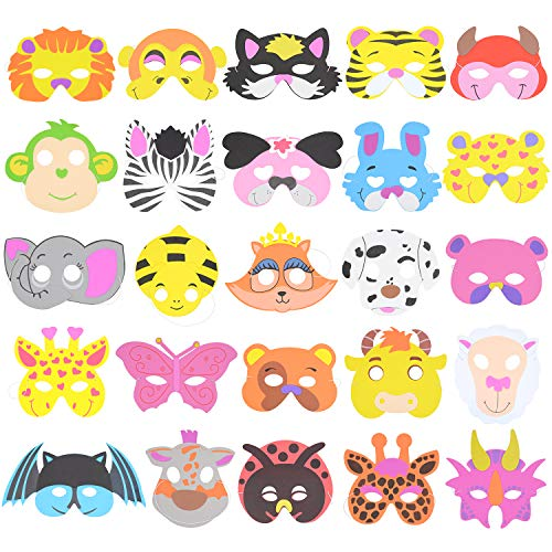 RETON 50 Pcs Children's Foam Animal Masks Dress-Up Party Accessory for School, Home (50 Different Designs)
