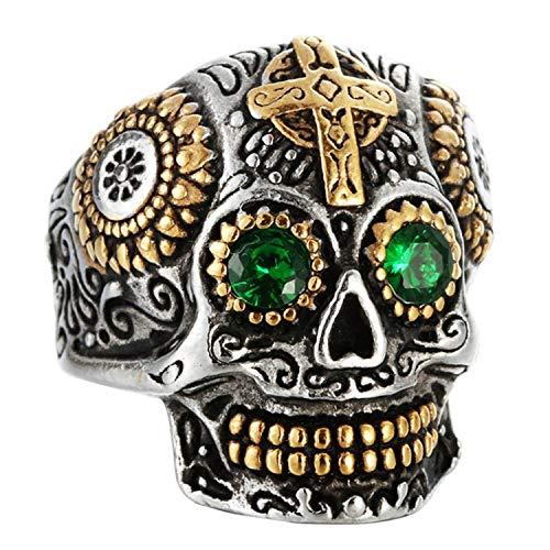 Epinki Ring for Men Titanium Ring Cross Skull Ring Men Ring Band with Cubic Zirconia Gold Green Size 7