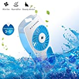 D-FantiX Handheld Fans Battery Operated Portable Misting Fans Water Spray Fan with Cooling Mist Humidifier Fan for Travel, Home, and Office Blue
