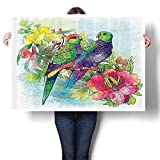 """SCOCICI1588 Modern Art Picture Colorful Canvas Print Faded Flowers and Love Parrots Botanical Flora with Romantic Orchids Wings Artwork for Kitchen Room Decor,40"""" W x 24"""" L(Frameless)"""