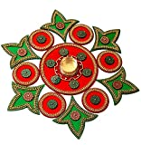 Moira Acrylic Rangoli with Diya (Red & Green) 15' Dia