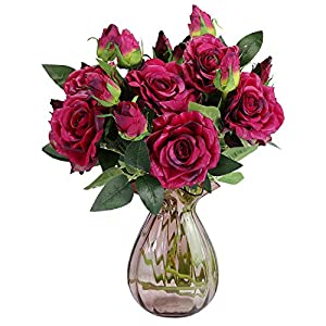 RERXN Artificial Flowers 2 Heads Long Stem Pu Rose Bouquet Real Touch Flowers Home Wedding Party Decor, Pack of 5 1