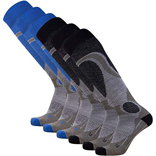 Pure Athlete Elite Ski Socks – Lightweight Merino Wool Warm Skiing Sock for Men and Women (Black (3) + Blue (3) - 6 Pack, Medium) ()