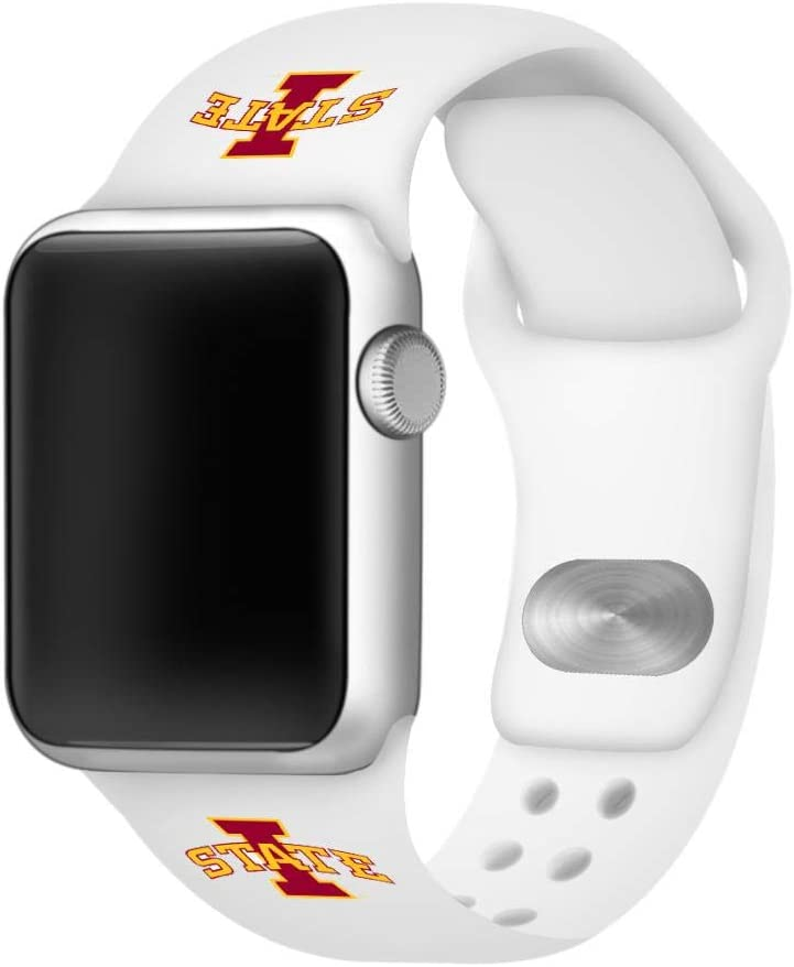 AFFINITY BANDS Iowa State Cyclones Silicone Sport Watch Band Compatible with Apple Watch (42mm/44mm - White)