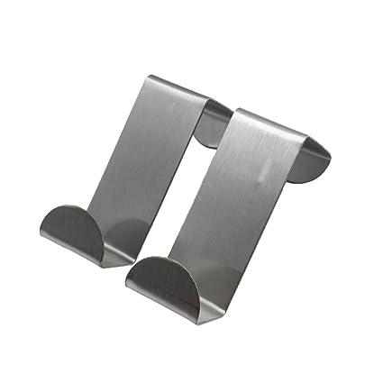 t-meka Pack de 2 para encima de la puerta ganchos Perchero de pared de acero inoxidable Armario para puertas y cajones