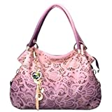 ThinkMax Elegant Women Soft Top Handle Satchel Tote Bag Hollow Pattern Shoulder Bag Handbag