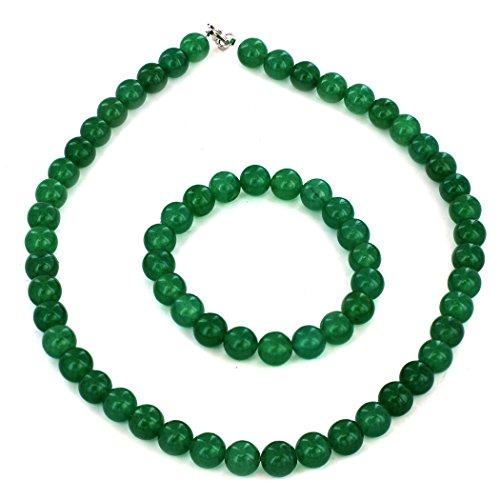 - ELYA Women's Sterling Silver Green Aventurine Beaded Bracelet and Necklace Set