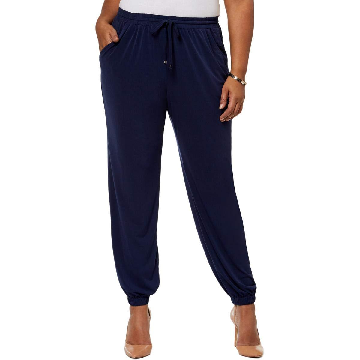 NY Collection Womens Plus Soft Drawstring Jogger Pants