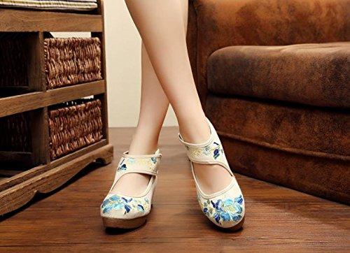 Zll Del Tendón Bordados Zapatos Meters Cómodo Estilo Ocasional White Aumentados Femeninos Étnico Lenguado Manera Lino w11qSIr