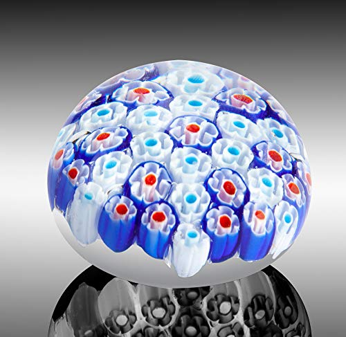 (Collectible Millefiori Handmade Glass Paperweight, Beautiful Office Decor, Decorative Art Glass, Colorful Flower Paper Weight)
