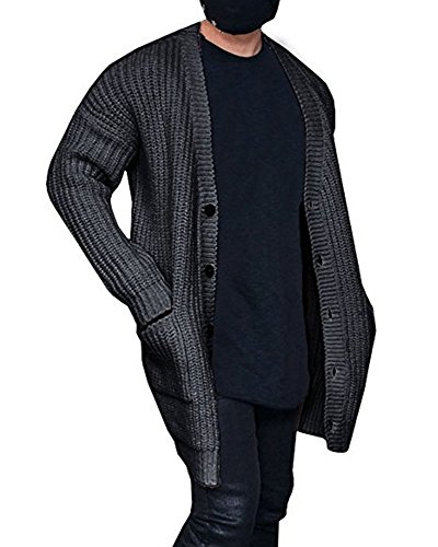 Chunky Cotton Cardigan - Kathemoi Mens Cardigan Sweater Knit Cable Button Winter Thick Outerwear Coat with Pockets