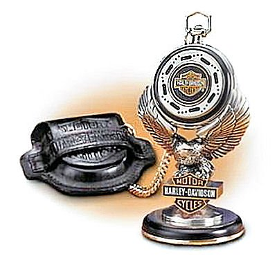 The Franklin Mint 1998 Harley-Davidson Heritage Softail Collectible Pocket Watch, Leather Case & Eagle Stand Set