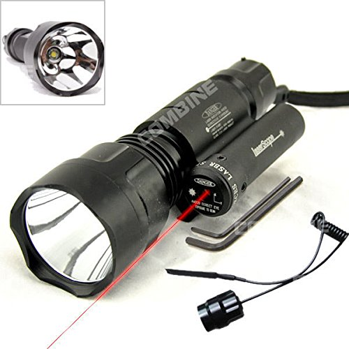 Price comparison product image Tactical Red Laser DOT Sight & CREE XM-L T6 LED Flashlight Torch 1 Mode
