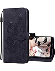 IMEIKONST Flip Hoesjes for OPPO Find X2 Neo, Premium Retro Leather Find X2 Neo Cover Magnetic Wallet Protective Compatible with OPPO Find X2 Neo. Butterfly Black CYB
