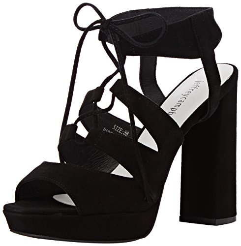 Jeffrey Campbell Ibex Suede, Scarpe con Tacco a Punta Aperta Donna Negro - Negro