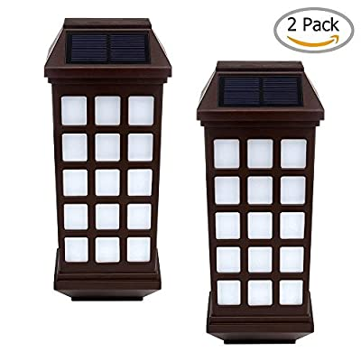 niceEshop(TM) Solar Lights Outdoor, Outdoor Fence Lights, Wireless Waterproof LED Solar Lights for Deck Porch Patio Yard Garden Walkway, Outside Wall with Light Sensor Auto On/Off(2 Pack)