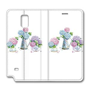 Brain114 Fashion Style Case Design Flip Folio PU Leather Cover Standup Cover Case with Beautiful Hydrangea Pattern Skin for Samsung Galaxy Note 4