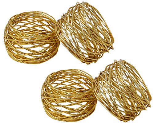 Godinger Silver Art Gold-plated Round Mesh Napkin Holder Rings, 2 Inch, Set of 4