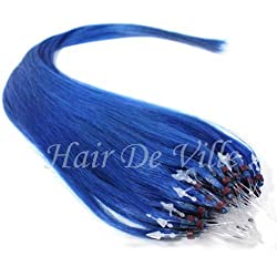 "25 Strands 22"" Long Micro Loop Ring Beads I Tip Human Hair Extensions Color Blue 0.8g Each Strand"