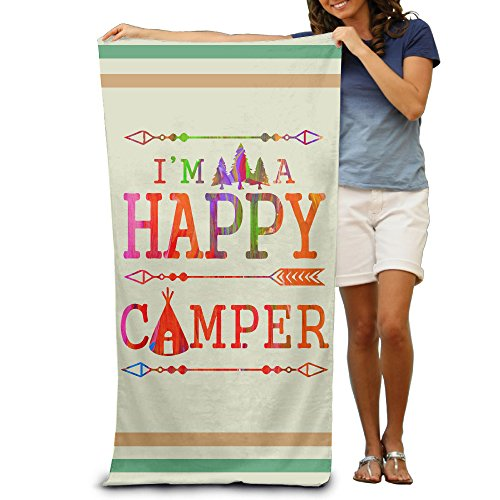 Camping Mountain Happy Camper Adults Swim Towel 80x130 Inches