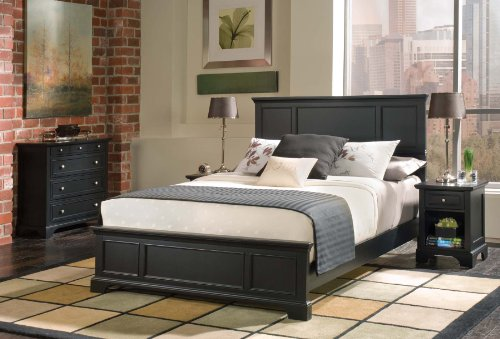 Home Styles 5531-5014 Bedford Queen Bed, Nightstand and Chest, Black Ebony Finish - Ebony Finish