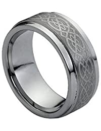 9mm Tungsten Carbide Stepped Edge Brushed center Celtic Pattern Wedding Band Ring
