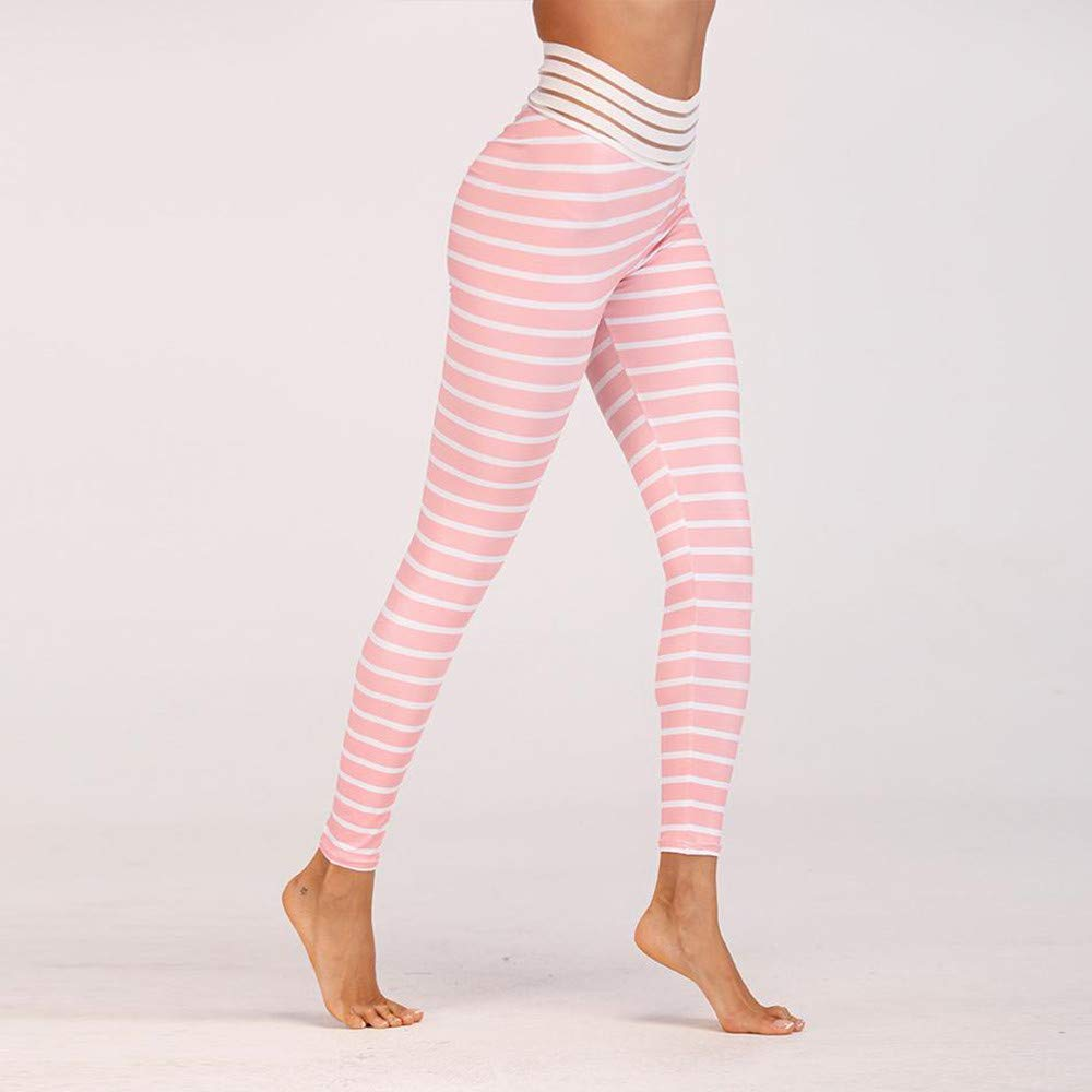 Lmtime Women's Skinny Stripe Workout Leggings Fitness Sports Gym Running Yoga Athletic Pants (M, Pink) by Lmtime (Image #2)