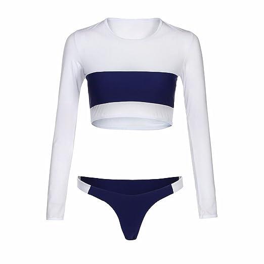 14b05821a31 Amazon.com: Paymenow Women Bikini Set Sexy Contrast Color Long Sleeve Tops  Bikini Tong Two Pieces Bathing Suits Swimwear: Clothing