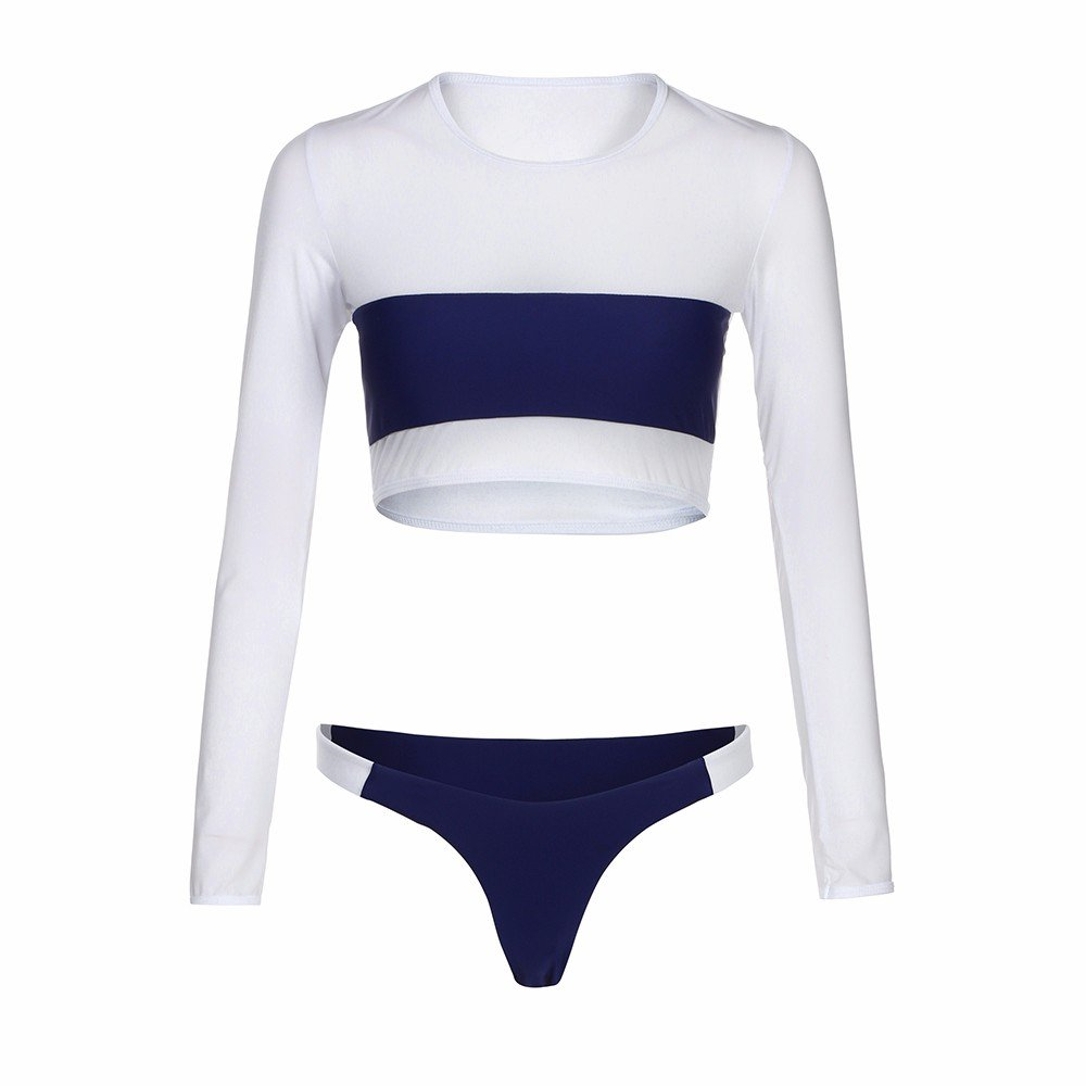 AOmahh Women Long Sleeve Swimsuit Push-up Bra Patchwork Bikini Slim Sexy Ladies Swimwear Set Navy