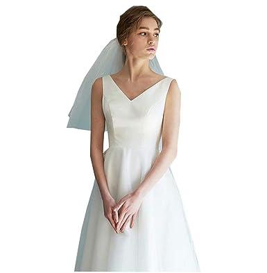 15b8853874 Simple Beach Wedding Dresses V Neck Tea Length Bridal Wedding Gowns ...
