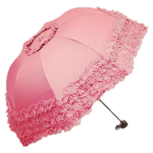 Princess Umbrella (Honeystore Princess Lace Ultraviolet-Proof Folding Umbrella Anti-uv Dome Parasol Style1 Watermelon)