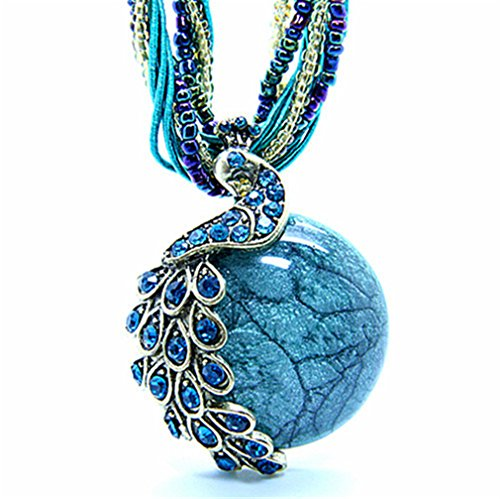 "Bohemia Cats Eys Opal National Personality Peacock Pendant Necklace for Woman Fashion Jewelry 18"" by Jemry and..."