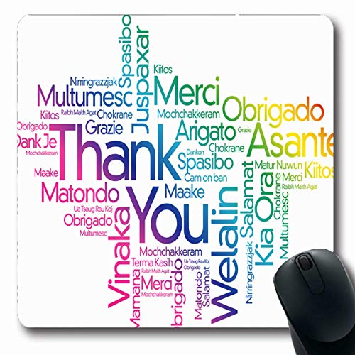 Ahawoso Mousepad Oblong 7.9x9.8 Inches France Thanksgiving Thank You Word Cloud All English Tag Javanese Appreciation Arabic Black Design Office Computer Laptop Notebook Mouse Pad,Non-Slip Rubber