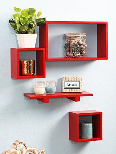 Artesia   SCFP 712 Red Wooden Wall Shelf Set Of Four