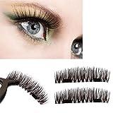 Magnetic False Eyelashes 4Pcs Women Ultra-thin 0.2mm Magnetic Eye Lashes 3D Reusable Magnet Eyelashes Extension (Black brown color fight)
