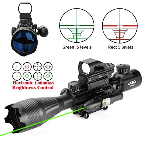 (UUQ 4-16x50 Tactical Rifle Scope Red/Green Illuminated Range Finder Reticle W/RED(Green) Laser and Multi Coated Holographic Reflex Dot Sight (12 Month Warranty) (Green Laser W/New Dot Sight))