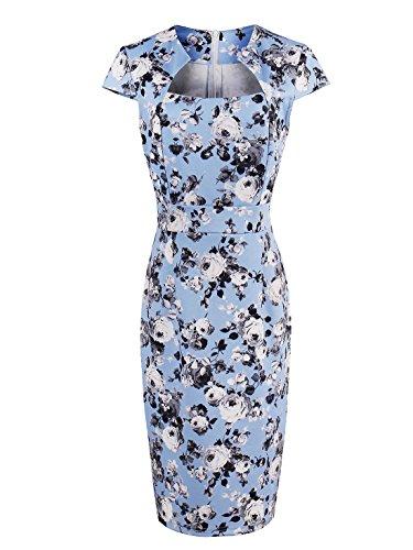 Fleur Sexy Élégant Été Des Femmes 'acfm Impression Col Carré Robe Sans Manches Bleu