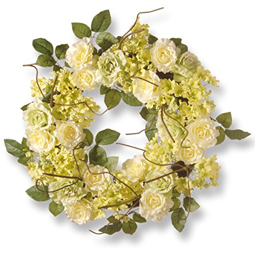 Cream Hydrangea Wreath (National Tree 24 Inch Cream Wreath with Roses, Yellow Flowers and Berries (RAS-15546W24G))