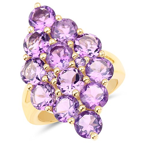 - Universal Jewels 14K Yellow Gold Plated 6.78 Ct Genuine Amethyst 925 Sterling Silver Cluster Ring