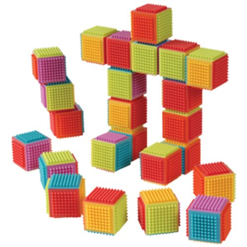 Sized Cube - Constructive Playthings Toddler Sized Set of 24 Bristle Cubes Designed To Easily Interlock and Pull Apart