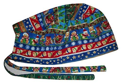 Scrub Hat Reindeer Bells Bears Christmas Holidays Fabric Nurse Cap Do-Rag