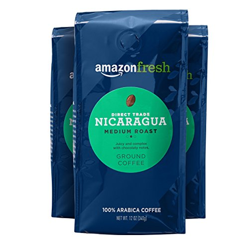 AmazonFresh Direct Trade Nicaragua Coffee, Medium Roast, Ground, 12 Ounce, Pack of 3