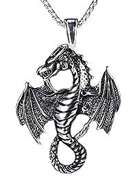 Kamellusone Men Hip Hop Vintage Titanium Steel Wings Dragon Tag Pendant Chain Necklace